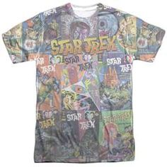 This officially licensed Star Trek: Original Series - Classic Comics Sublimated T-Shirt is dye sublimated and is made of 100% polyester. Display your Star Trek: Original Series pride and grab this sublimated t-shirt for yourself or that special geek today.  This garment is hand-printed on the front and back using a dye sublimation printing process. Each t-shirt is handmade and unique. Expect to have smudges and blurs over seems as well as areas of creasing near edges.