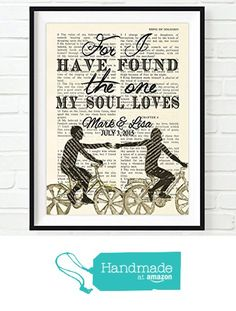 Creative diy  gift idea  CUSTOMIZED Vintage Bible page PERSONALIZED - For I have found the one Song of Solomon 3:4 verse scripture Christian art print, UNFRAMED, dictionary wall & home decor poster, wedding gift from Art for the Masses https://www.amazon.com/dp/B01E9KKACY/ref=hnd_sw_r_pi_awdo_3KaQxb48NDHJX #handmadeatamazon