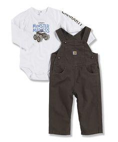 Take a look at this White & Brown Truck Bodysuit & Overalls - Infant on zulily today!