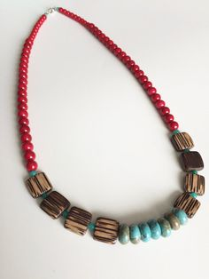 Long Wood Turquoise Necklace - Turquoise Wood Necklace - Casual Bohemian Necklace - Festival Necklace - Summer Necklace - Boho Chic Jewelry