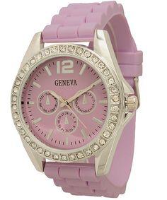 Ladies Geneva Chronograph Style Silicone Watch - Lavender