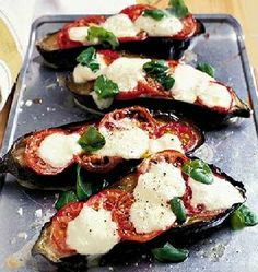 Choose a glossy, plump aubergine to make this warming vegetarian main course. From BBC Good Food. Bbc Good Food Recipes, Vegetable Recipes, Vegetarian Recipes, Cooking Recipes, Healthy Recipes, Free Recipes, Aubergine Mozzarella, Aubergine Recipe, Eggplant Recipes