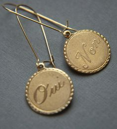 Brass Oui and Non Earrings | Jewelry Earrings | Larissa Loden | Scoutmob Shoppe | Product Detail // $17