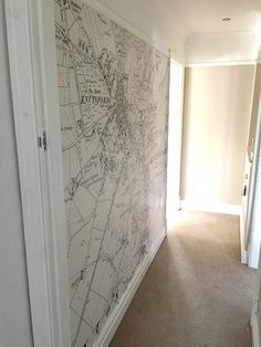 Map wallpaper - perfect for a feature wall or decorating a narrow hallway - Tapeten Ideen Hallway Wallpaper, Hallway Walls, Map Wallpaper, Upstairs Hallway, Feature Wallpaper, Hallway Ideas, Hallway Decorations, Perfect Wallpaper, Kids Wallpaper