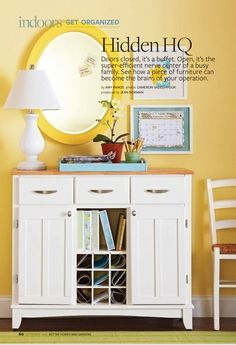Use kitchen buffet as entryway storage/mail/school paper center. Buffet pictured is sold at Meijer.com. Link to online article: http://www.bhg-digital.com/bhg/201009/m3/Page.action?lm=1334340059000=63