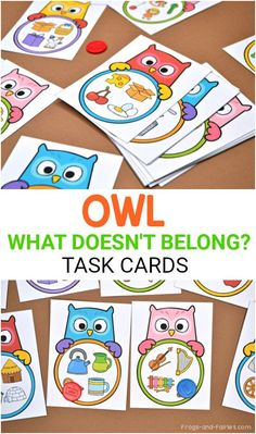 Kids will practice classification and visual discrimination with this fun set of What Doesn't Belong Task Cards with adorable owls! Fall Preschool Activities, Printable Activities For Kids, Toddler Activities, Toddler Learning, Owl Preschool, Literacy Games, Math Task Cards, Ms Gs, Early Learning