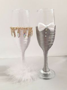 Mr & Mrs glasses BRIDE and GROOM Wedding Glasses Champagne Flutes ... Wedding Wine Glasses, Wedding Champagne Flutes, Champagne Glasses, Toasting Flutes, Wedding Groom, Wedding Supplies, Different Colors, Arts And Crafts, Wedding Ideas