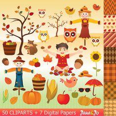 50 Autumn clipart autumn clip art , autumn digital paper,squirrel scarecrow tree apple bucket pumpkin clipart fall leaves Owl clipart Acorn