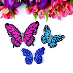 Brick stitch patterns for all these beautiful butterflies are now available at SplendidBeads's Etsy Shop Melty Bead Patterns, Bead Crochet Patterns, Beading Patterns Free, Stitch Patterns, Bead Embroidery Jewelry, Beaded Embroidery, Beading Jewelry, Butterfly Pattern, Flower Patterns