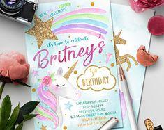 Unicorn Birthday Invitation, Unicorn Invitation, Rainbow Invitation, Magical Invitation, Rainbow Birthday Invite Printable, Unicorn Party