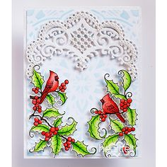 Winter Cardinals card made w/ Festive Holly collection from #HeartfeltCreations #Christmas