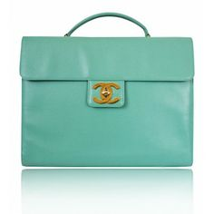 Turn your office wardrobe from drab to fab with this ultra rare Chanel Emerald Green Caviar Laptop Business Bag!