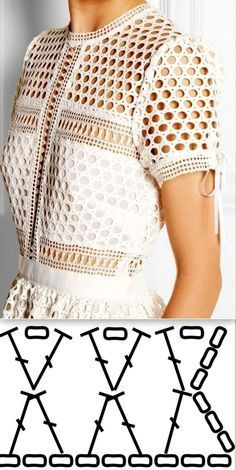Image of white crochet top - chart Image only of mesh top with short sleves Crochet Dress Dishcloth Pattern Fashion Show Dress Drop Hot 39 Blouses Cardigans To Inspire Every Girl - Ladies Shoes - Dantel Modelleri Crochet Patterns Jacket The photo Pull Crochet, Gilet Crochet, Mode Crochet, Crochet Cardigan, Crochet Lace, Crochet Tops, Crochet Afgans, Lace Cardigan, Sweater Dresses
