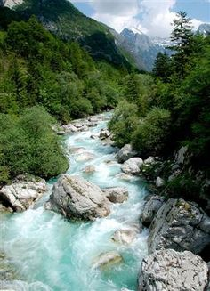 "Reconnect with nature.  Photo of The Emerald ""Soca"" River in the Julian Alps"