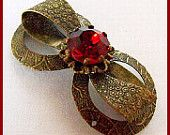"Vintage Art Deco Ribbon Bow Brooch or Pin Red Rhinestone Brass Metal 2"" VG"