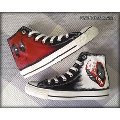11f91c7079db Deadpool Custom Converse   Painted Shoes ( 75) ❤ liked on Polyvore  featuring shoes