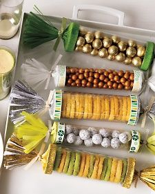 Stack this year's holiday cookies and sweets inside affordable store-bought clear tubes.