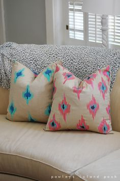 Pawleys Island Posh: pink & blue ikat pillows