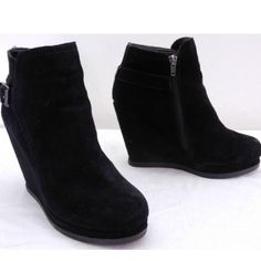 Black suede wedge booties Adorable wedge booties with buckle detail on the outside. 3 inch wedge and a wide platform makes them comfortable and easy to walk in. Genuine suede! Dolce Vita Shoes Ankle Boots & Booties