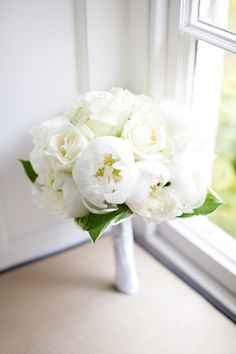 bouquet of pure white peonies