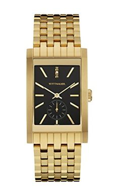 Wittnauer Wn3058 Men's Strainless Steel Gold Bracelet Band Black Dial Square Watch https://www.carrywatches.com/product/wittnauer-wn3058-mens-strainless-steel-gold-bracelet-band-black-dial-square-watch/  #men #menswatches #watchwithdiamonds #wittnauer-#wittnauerwatches - More Wittnauwer mens watches at https://www.carrywatches.com/shop/wrist-watches-men/wittnauwer-watches-for-men/