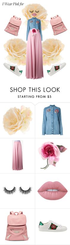 """""""Think Pink"""" by pinkfashionstory ❤ liked on Polyvore featuring Accessorize, Diesel, Roksanda, Gucci, Lime Crime, Balenciaga and IWearPinkFor"""