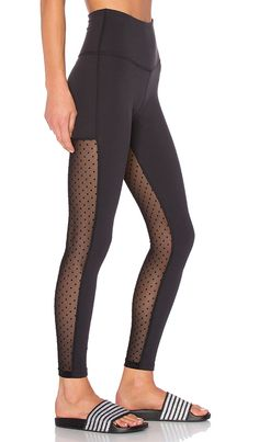 50c6805d64 Shop for Beyond Yoga Polka Dot Mesh Back Long Legging in Black at REVOLVE.  Free