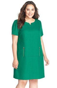 Tahari Zip Detail Notch Neck Jacquard Shift Dress (Plus Size) available at #Nordstrom