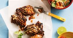 Spice up your barbecue with this chilli plum chicken, served with a side of Asian coleslaw. Healthy Weeknight Dinners, Easy Dinners, Nice Salad, Asian Coleslaw, Plum Sauce, Number 8, Sausage Rolls, Recipe Sites, Latest Recipe