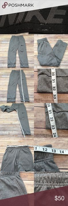 Size Large Nike Boys Tapered Leg Sweat Pants Youth • Measurements are in photos  • Material tag is in photos • Normal wash wear, no flaws • Pockets  • Drawstring Waist  F2/P  Thank you for shopping my closet! Nike Bottoms Sweatpants & Joggers