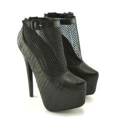 Pantofi cu platforma si toc Suprem Negri - ->>>