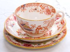 Charming Victorian chinoiserie Tea Trio with hand-painted details. $25.00. #vintage #teacup #teatrio