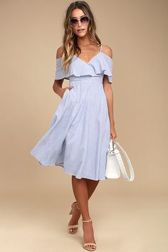 There is nothing but easy listening ahead in the  Rock Blue and White Striped Off-the-Shoulder Midi Dress! Lightweight woven cotton in a blue and white striped pattern falls from adjustable spaghetti straps into a surplice flounce bodice with short, off-the-shoulder sleeves. Fitted waist tops a full midi skirt. Hidden back zipper/clasp.