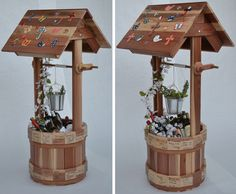 Two Wooden wishing wells made by Chad Wood Projects For Beginners, Projects To Try, Wishing Well Plans, Garden Projects, Pallet Projects, Garden Ideas, Wooden Garden Furniture, Decks And Porches, Wood Lamps