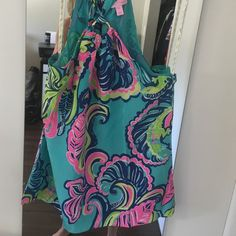 Lilly Pulitzer XS Cassandra flowy halter top Worn once, perfect condition. In sea blue private island. 100% silk. Lilly Pulitzer Tops