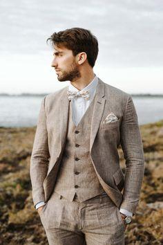 Linnèo Archivable Clothing  brown linen groom suit