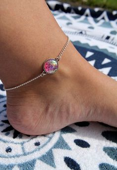 Pink Iridescent Mermaid Anklet
