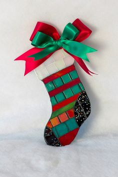 Mosaic Stocking,each ornament is unique. Sold.