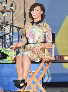 Feeling good! Demi Lovato, 21, shows off her legs in a summer dress on Good Morning America on Friday
