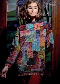 Rowan Knitting & Crochet Magazine design by Kaffe Fassett using the beautiful yarn Rowan Fine Tweed wool). Rowan Knitting, Hand Knitting, Knitting Designs, Knitting Projects, Laine Rowan, Magazine Crochet, Pulls, Knitwear, Knitting Patterns