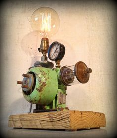 """Brainstorm"" - Found Object Light Sculpture by Jay Lana, Metal/Mixed Media Artist"