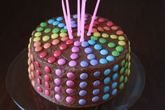 SImple but cute birthday cake - Tales from a happy house. Grandma Birthday Cakes, 5th Birthday Cake, Chocolate Birthday Cake Kids, Smarties Cake, Cake Icing Tips, Birthday Chocolates, Tasty Chocolate Cake, Easy Cake Decorating, Occasion Cakes