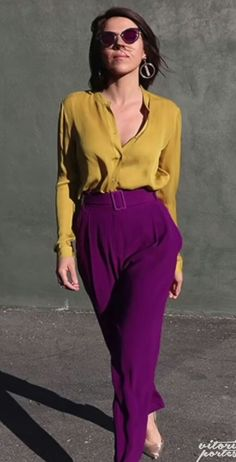 Blouse and wide leg pants elevated with color and statement earrings