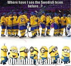 Canadian Hockey Humor via minion style :) Funny Hockey Memes, Hockey Quotes, Funny Memes, Hilarious, Funny Cartoons, Funny Gifs, Funny Videos, Funny Quotes, Hockey Games