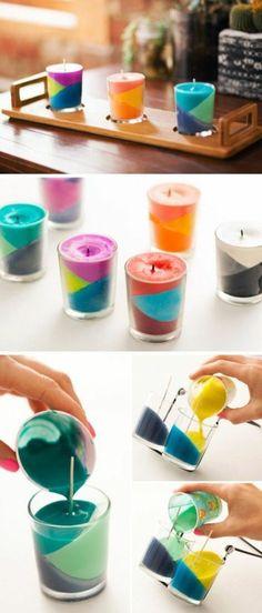 tutoriel, bougies à plusieurs couches multicolores à fabriquer soi meme, idée géniale comment faire des bougies parfumées