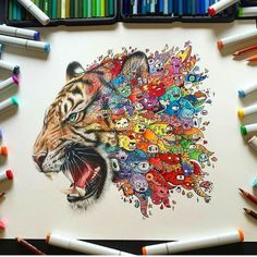 Realism combined with doodling by the creative @vexx_art . Check out his page!  Shared by Kitslam  YouTube | Instagram | Facebook