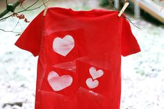 easy dollar store craft - Valentine stencil shirt - just in time for Valentines Day