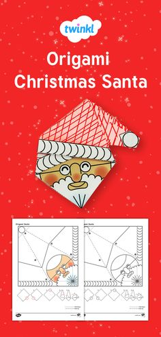 YOur children can make their own cute Father Christmas with this Simple Origami Christmas Santa Paper Craft template from Twinkl