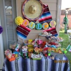 Mexican Candy buffet -Not like this Mexican Candy Buffet, Mexican Fiesta Party, Fiesta Theme Party, Taco Party, Festa Party, Candy Party, Mexico Party, Mexican Birthday, 1st Birthday Parties