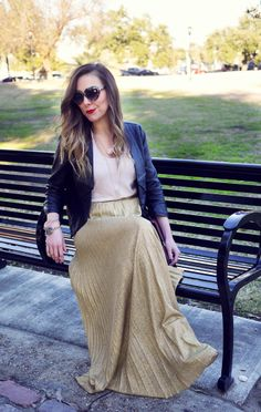 Blush + Gold // Valentine's Look // Gold Pleated Maxi Skirt // Heart Sunnies // via Sequin Crush